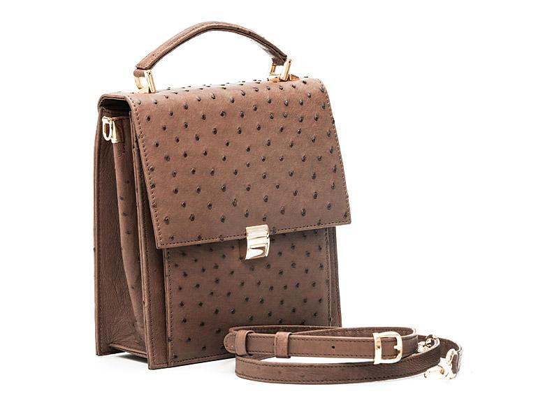 Elma Medium Ostrich Leather Hand bag