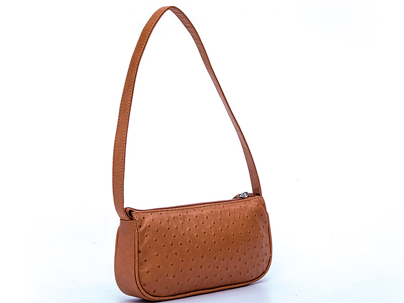 Ostrich Leather Shoulder Bag