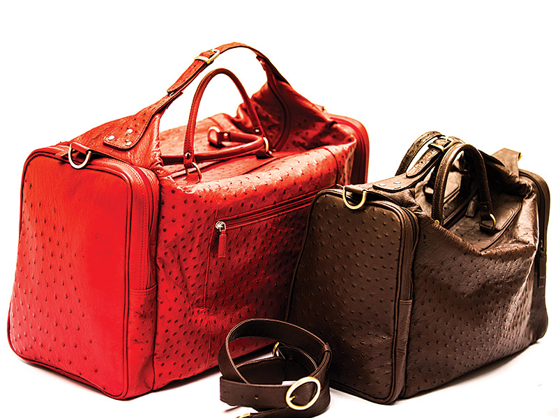 Ostrich Leather Travel Bag